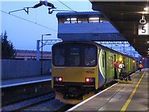 SP8633 : Bletchley station: wheelchair ramp in use by Stephen Craven