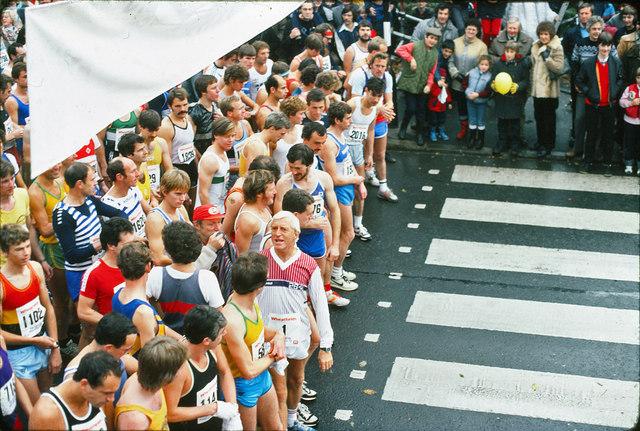 Jimmy Savile at the Leeds Marathon in 1982