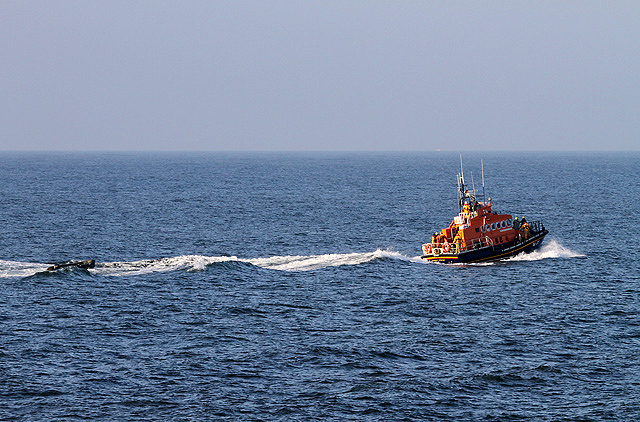The Dunbar Lifeboat on a whale rescue call out