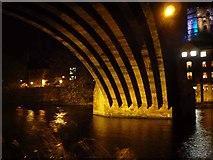 NZ2742 : Underneath the arches of Framwellgate Bridge, Durham Lumiere 2011 by Oliver Dixon