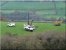 NY8262 : Installing a new electricity transmission line. by Oliver Dixon