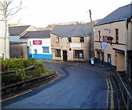 SS8591 : Three businesses on a bend in Church Street, Maesteg by Jaggery