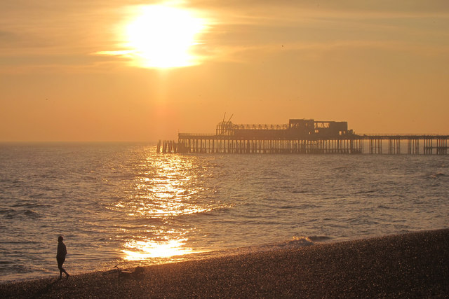 Sunset over Hastings pier