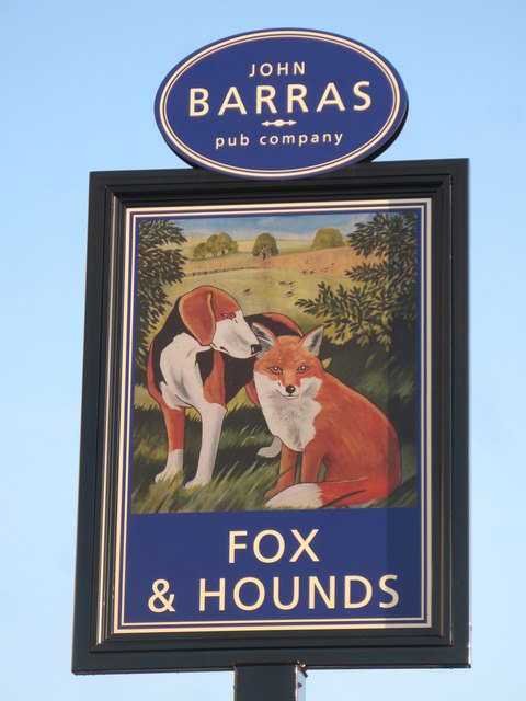 Sign for The Fox and Hounds, West Road, NE5