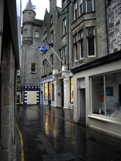 Commercial Street (main street), Lerwick (on a wet day)