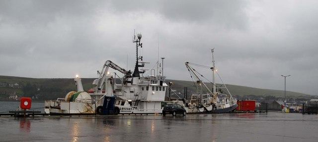 Norwegian pelagic trawler sheltering in Scalloway harbour