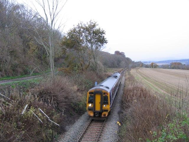 Railway through farmland near Kirkhill
