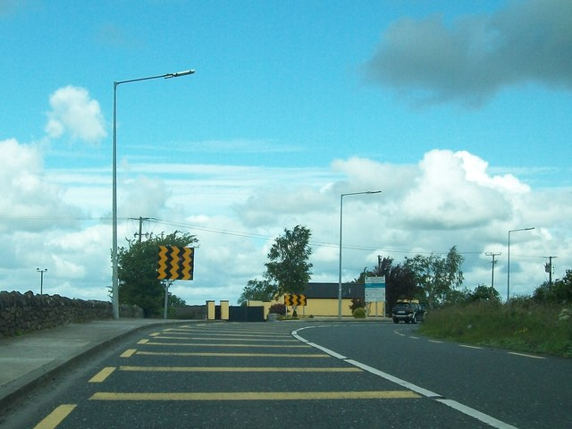 Well-signposted sharp bend on the N5 at Farnbeg, Roscommon