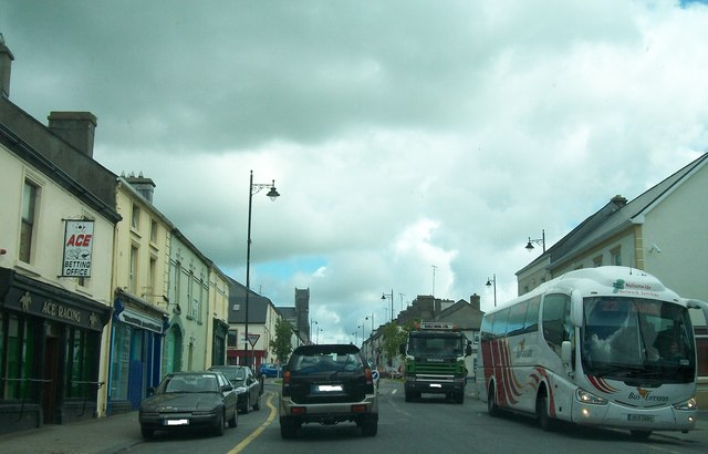 The 10.30 am Dublin Express at the pick-up point in Bridge Street, Strokestown