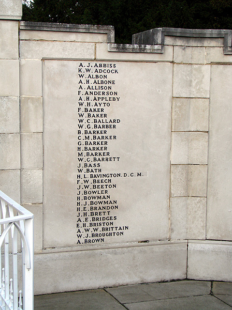 Hitchin War Memorial - Great War Panel - A to B