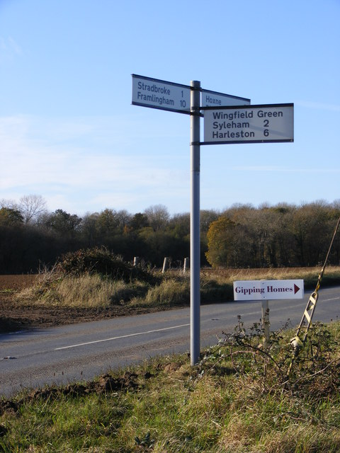 Roadsign on the B1118 Chickering Road