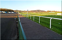 ST5295 : The one furlong post, Chepstow Racecourse by Jaggery