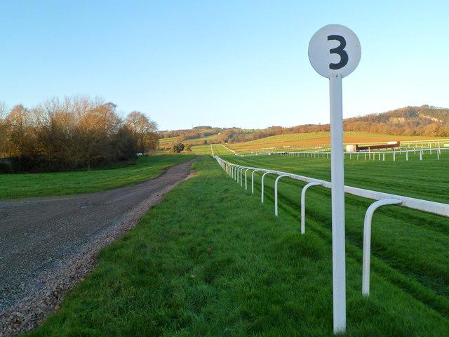 The three furlong post, Chepstow Racecourse