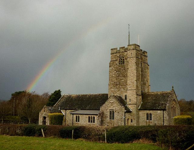 Rainbow over St Bartholomew's, Barbon