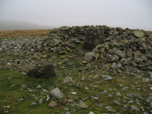 Summit cairn and remains of trig point, Moel Wnion