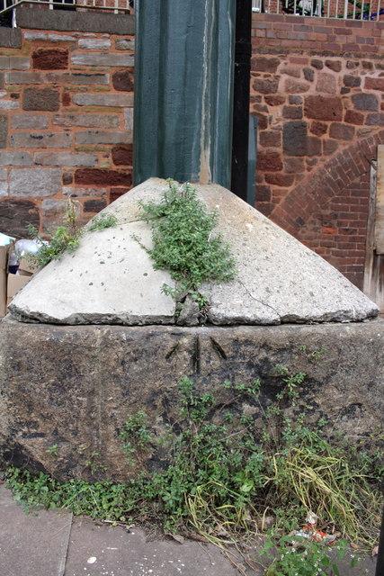 Benchmark on base of Iron Bridge pillar