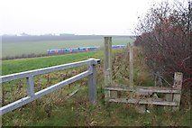 SE2728 : Footpath to Level Crossing at Morley by Richard Kay