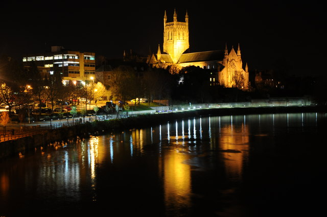 Worcester Cathedral and River Severn at night