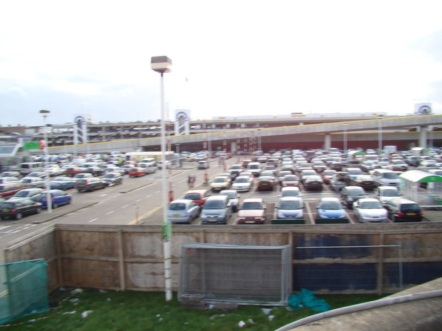 View of Asda car park from the walkway beside Black Rock