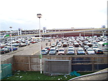 TQ3303 : View of Asda car park from the walkway beside Black Rock by Robert Lamb