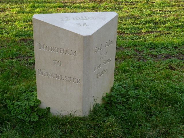 Commemorative stone by the Itchen Navigation