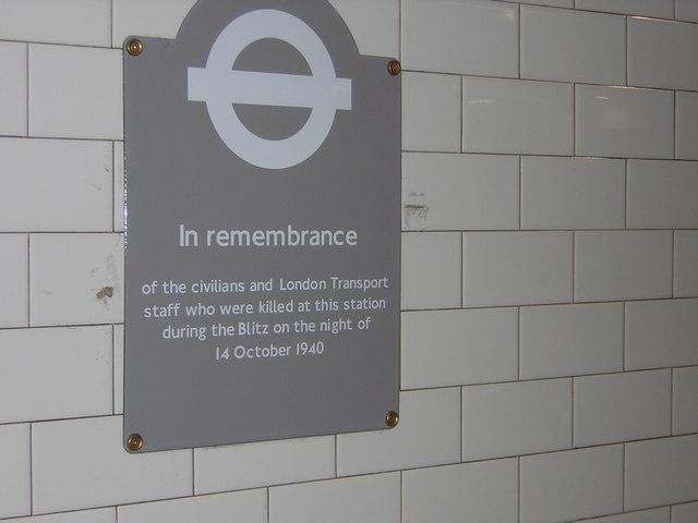 Memorial plaque at Balham underground station to Blitz casualties