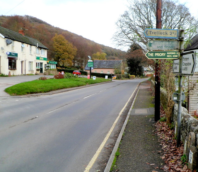 Roadside signs on the A466, Llandogo
