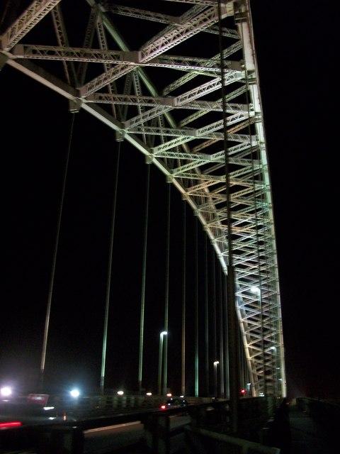 Runcorn Bridge by night