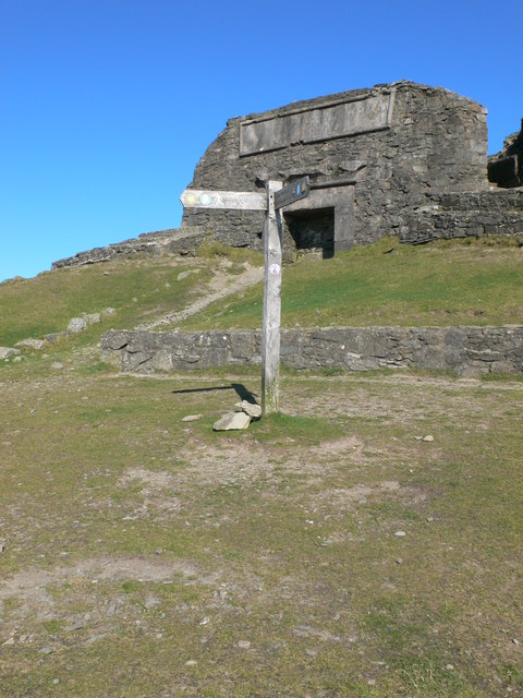 Offa's Dyke signpost at the top of Moel Famau