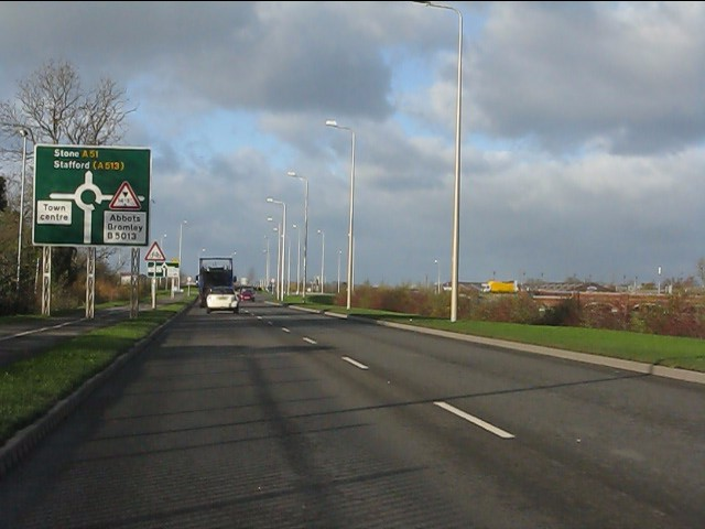 Rugeley bypass (A51) approaching Station Road roundabout