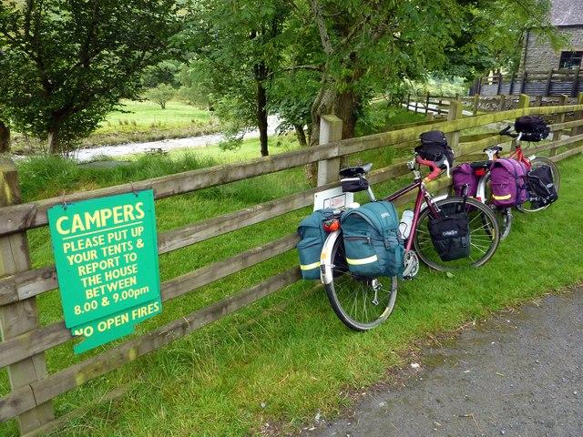 Touring bikes at Tyllwyd Farm Camping Site, Cwmystwyth