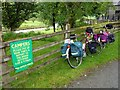 SN8275 : Touring bikes at Tyllwyd Farm Camping Site, Cwmystwyth by Phil Champion
