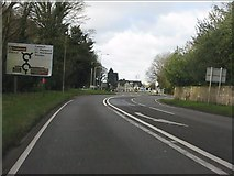 SK0220 : A51 approaching the pair of mini-roundabouts near Colwich by Peter Whatley