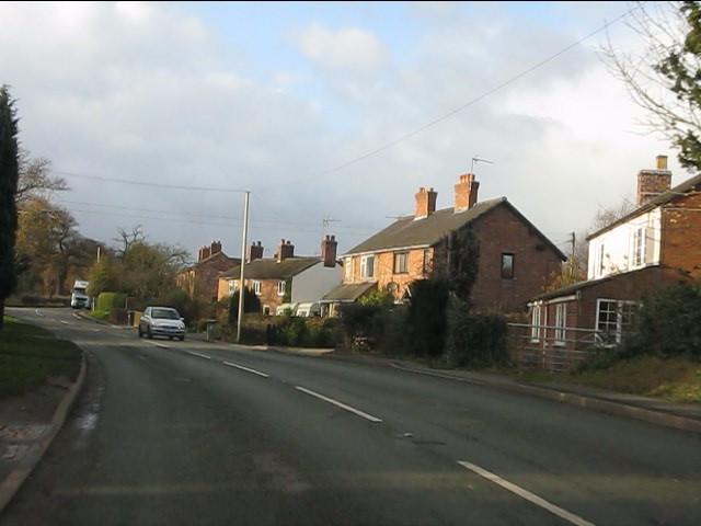 Houses alongside the A51, Stapeley