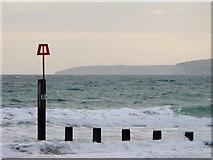 SZ1191 : Red beacon, Boscombe beach by nick macneill