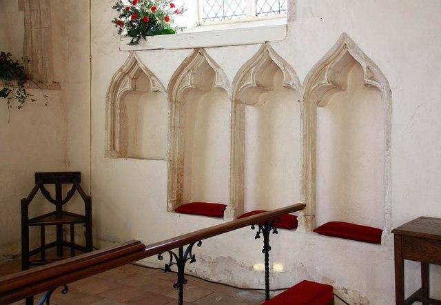 St Mary, Old Newton - Piscina & sedilia