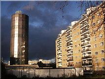 TQ2977 : Accumulator Tower and Shelley House, Churchill Gardens Estate by David Anstiss