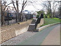 TQ2581 : Paddington Arm - steps from Westbourne Green to towpath by David Hawgood