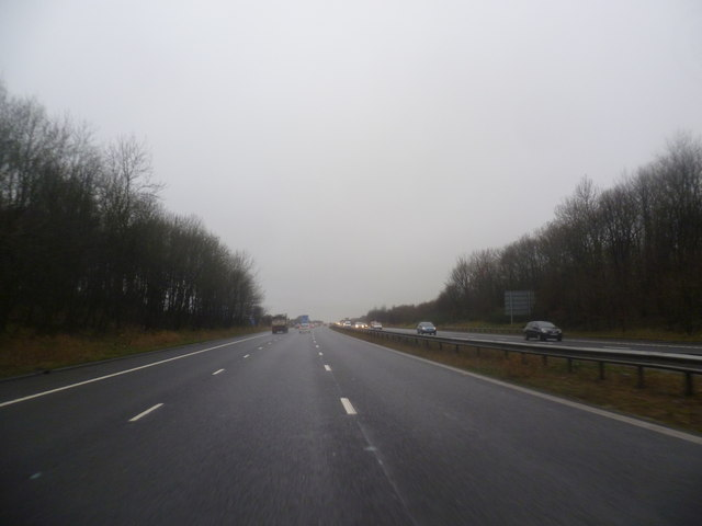Approaching Junction 5 of the M61