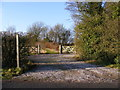 TM2872 : Footpath to Framlingham Road & entrance to Chestnut Tree Farm by Adrian Cable