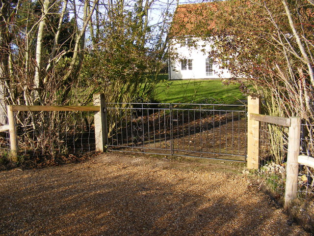 The gated  entrance to Corner Farm