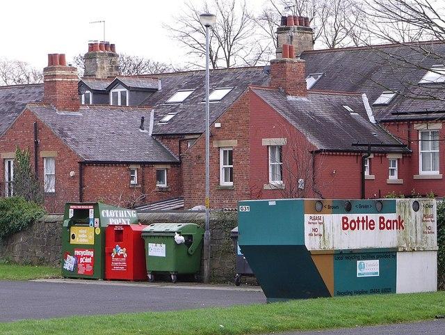 Recycling centre, car park of Tyne Riverside Park, Wylam