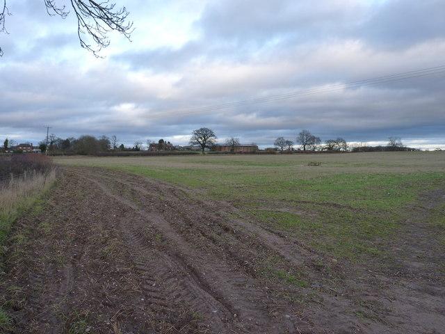 Towards Brineton across fields from the Blymhill Marsh lane