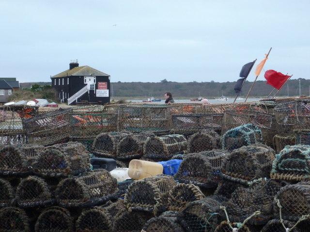 Mudeford: lots of lobster pots