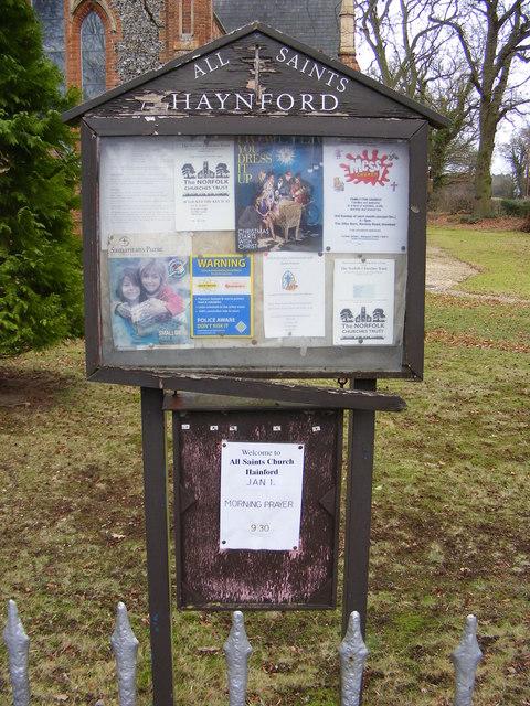 Notice Board of All Saints Church, Haynford