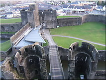 ST1587 : Bridge across inner moat at Caerphilly Castle by Ruth Riddle