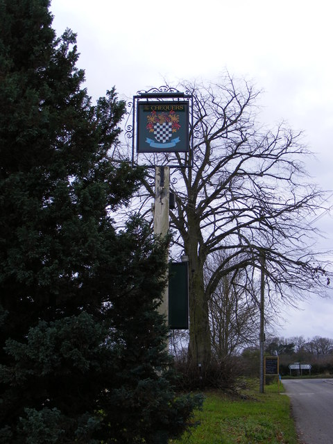Stratton Road & The Chequers Public House sign