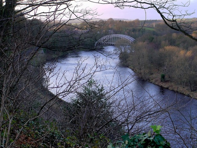 River Tyne & Hagg Bank Bridge from above Wylam Scars