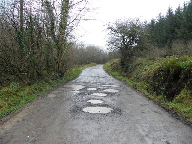 Road with potholes, Curraghamulkin