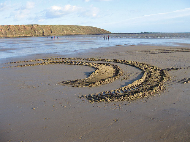 Tractor tracks in the sand, Filey